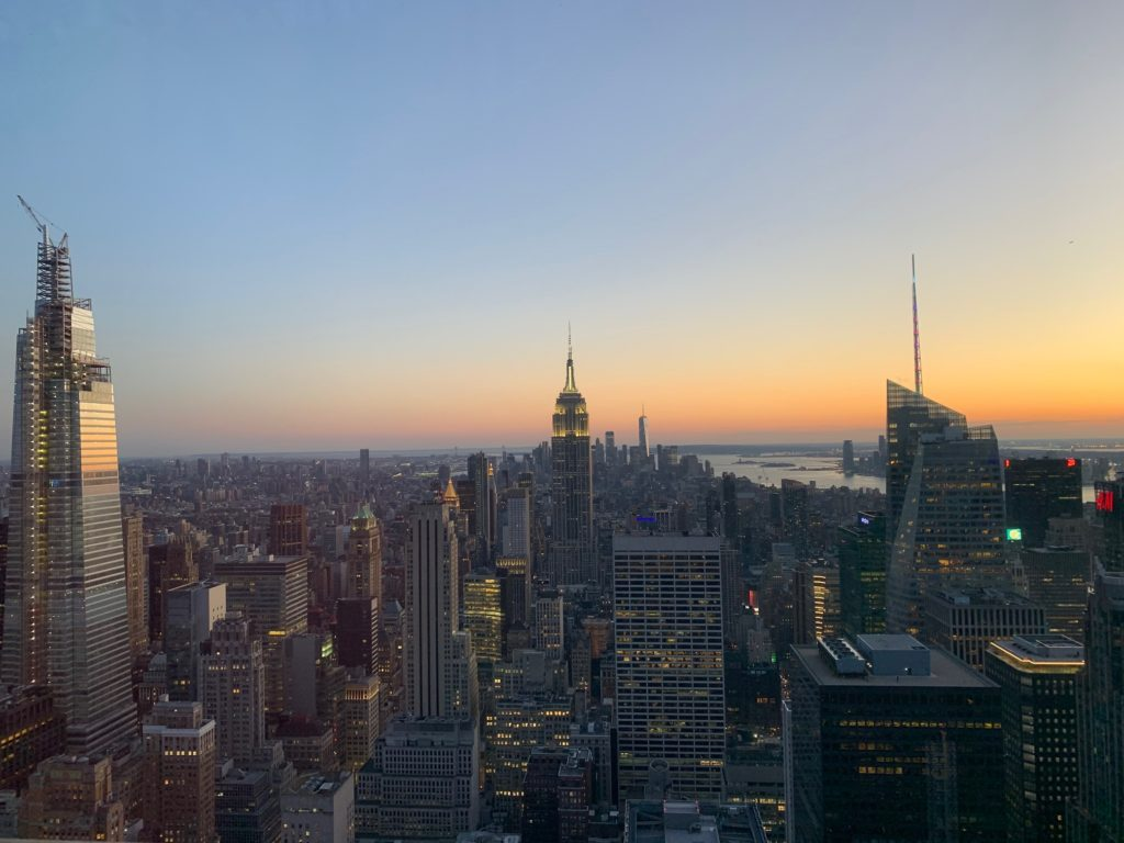 tramonto su New York dal Rockefeller Centre